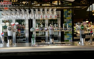 Mild steel bronze coated glass rack and stainles steel bar top inJD Wetherspoon, Seaham