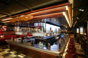 Stainles steel ba top and back bar in TGI Fridays, Manchester
