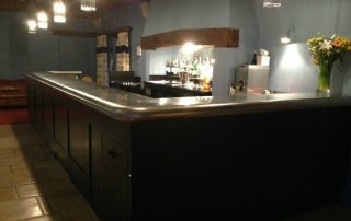 Stainless steel bar top in The Old Hall, Ely